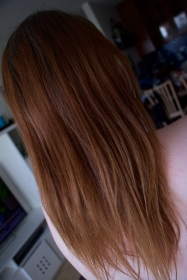 2016 July, hair dye has lightened up in the sun and gone a very coppery red colour. [BEFORE]